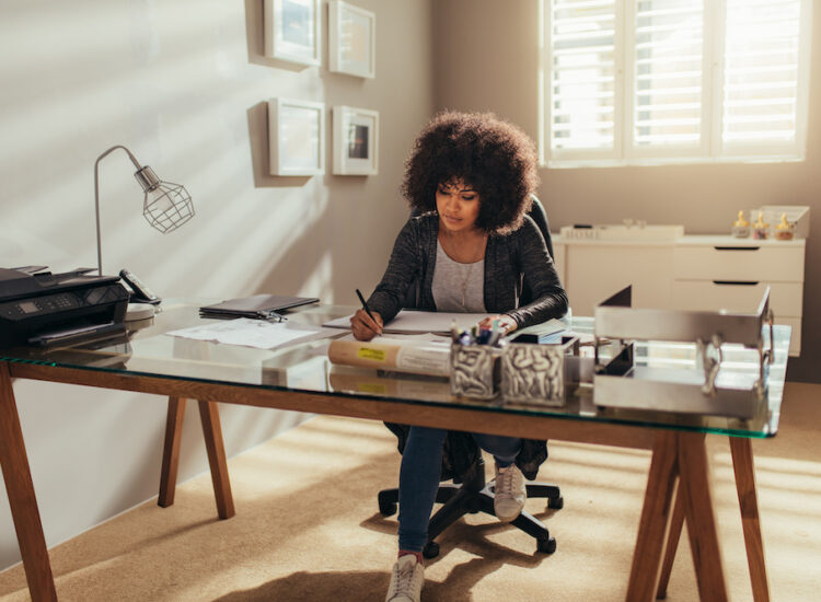 Woman working from home in her home office