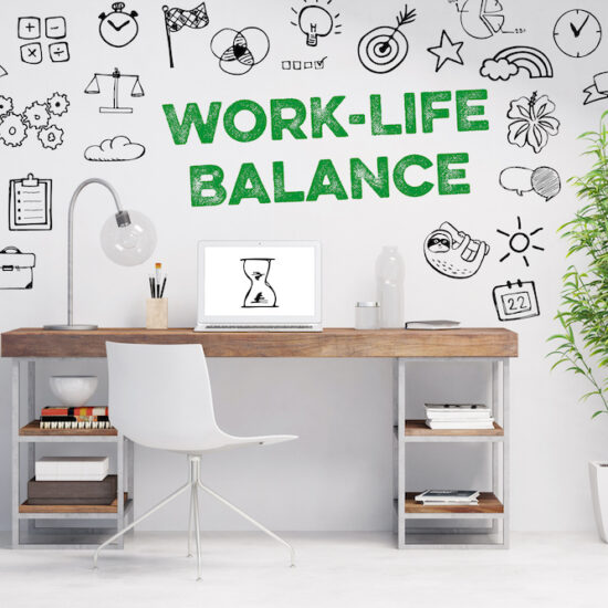 White room with 'Work Life Balance' Written on the Wall in Green