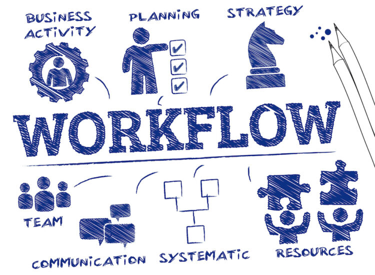 Blue Workflow Chart Time Tracking Graphic Square