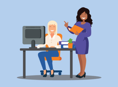 Woman back in the office discussing the new workforce management software with her colleague